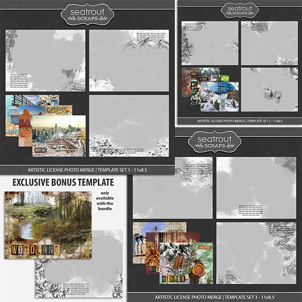 Artistic License Photo Merge Bonus Bundle 1 - 11x8.5 Digital Art - Digital Scrapbooking Kits