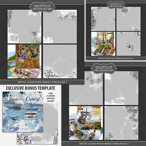 Artistic License Photo Merge Bonus Bundle 1 - 12x12 Digital Art - Digital Scrapbooking Kits