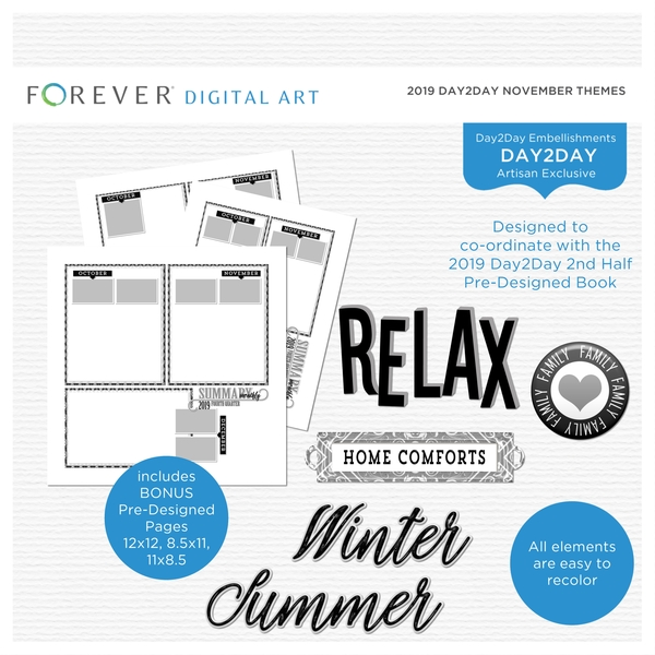 2019 Day2Day November Themes Digital Art - Digital Scrapbooking Kits