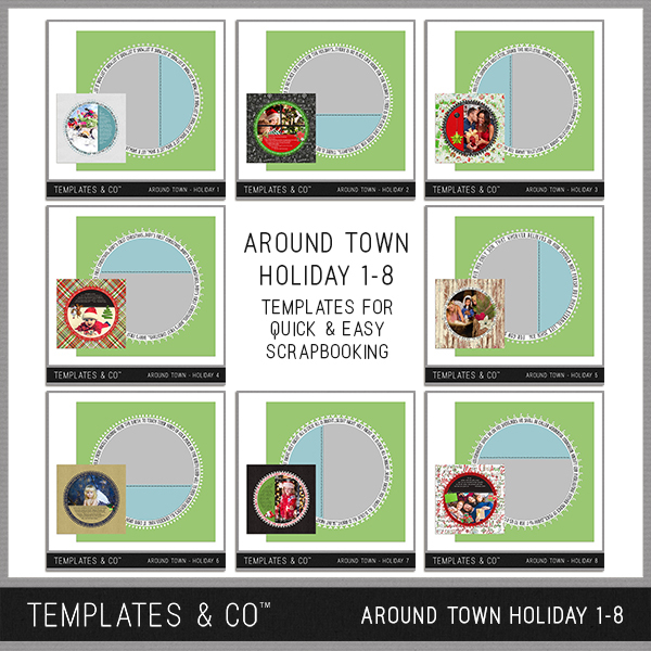 Around Town - Holiday 1-8 Digital Art - Digital Scrapbooking Kits