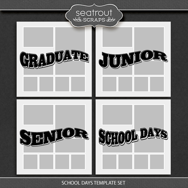 School Days Template Set Digital Art - Digital Scrapbooking Kits