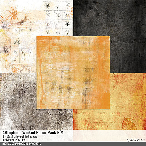 ARToptions Wicked Paper Pack No. 01 Digital Art - Digital Scrapbooking Kits