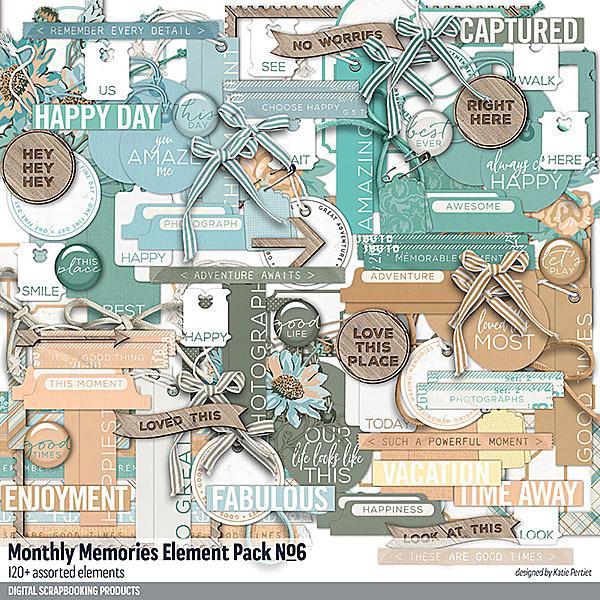 Monthly Memories Element Pack No. 06 Digital Art - Digital Scrapbooking Kits