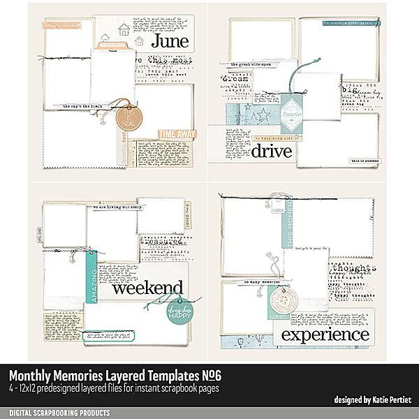 Monthly Memories Layered Template Pack No. 06 Digital Art - Digital Scrapbooking Kits