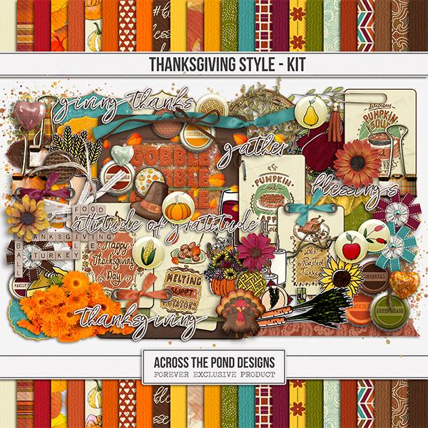 Thanksgiving Style Kit Digital Art - Digital Scrapbooking Kits