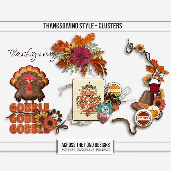 Thanksgiving Style Clusters Digital Art - Digital Scrapbooking Kits