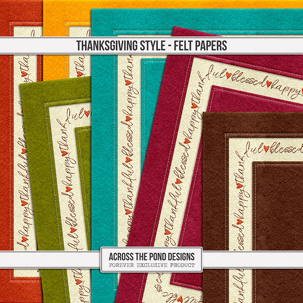 Thanksgiving Style Felt Papers Digital Art - Digital Scrapbooking Kits