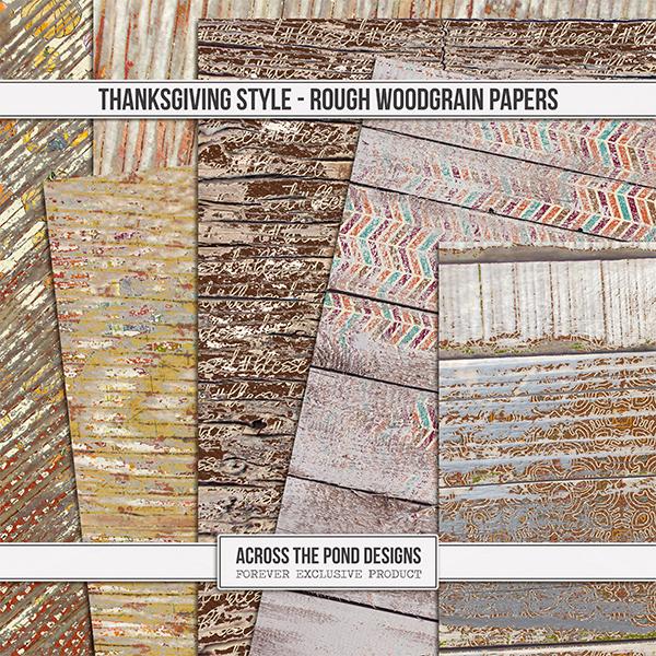 Thanksgiving Style Woodgrain Papers Digital Art - Digital Scrapbooking Kits