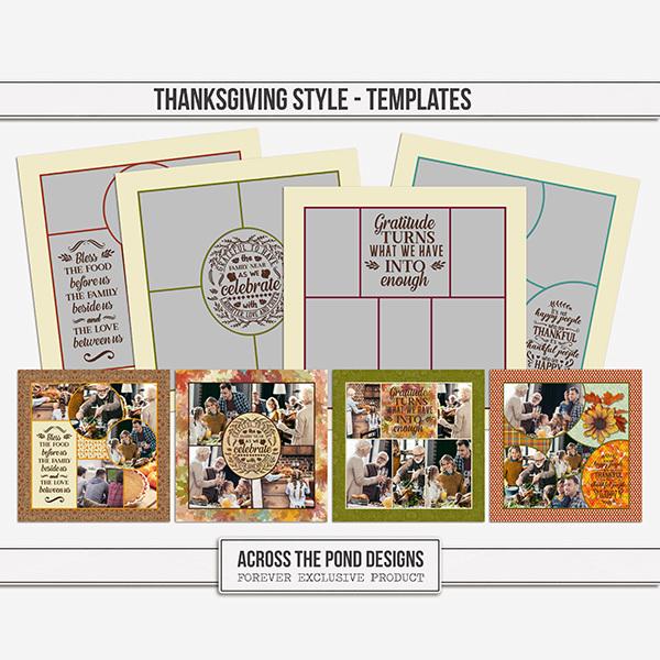 Thanksgiving Style Templates Digital Art - Digital Scrapbooking Kits
