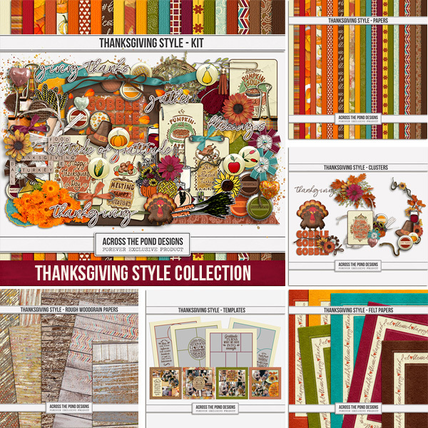 Thanksgiving Style Complete Collection Digital Art - Digital Scrapbooking Kits