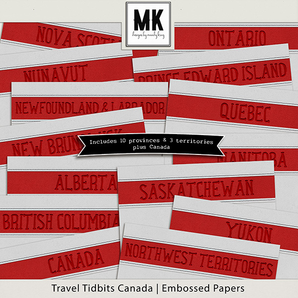 Travel Tidbits Canada Embossed Papers Digital Art - Digital Scrapbooking Kits