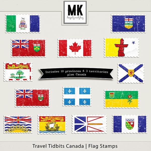 Travel Tidbits Canada Flag Stamps Digital Art - Digital Scrapbooking Kits