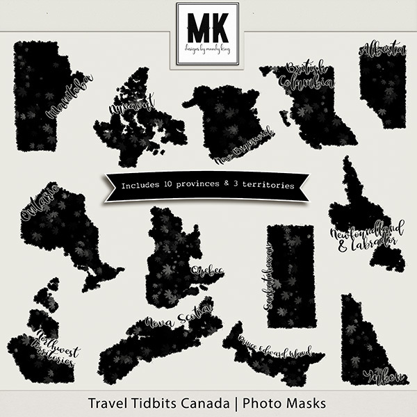 Travel Tidbits Canada Masks Digital Art - Digital Scrapbooking Kits
