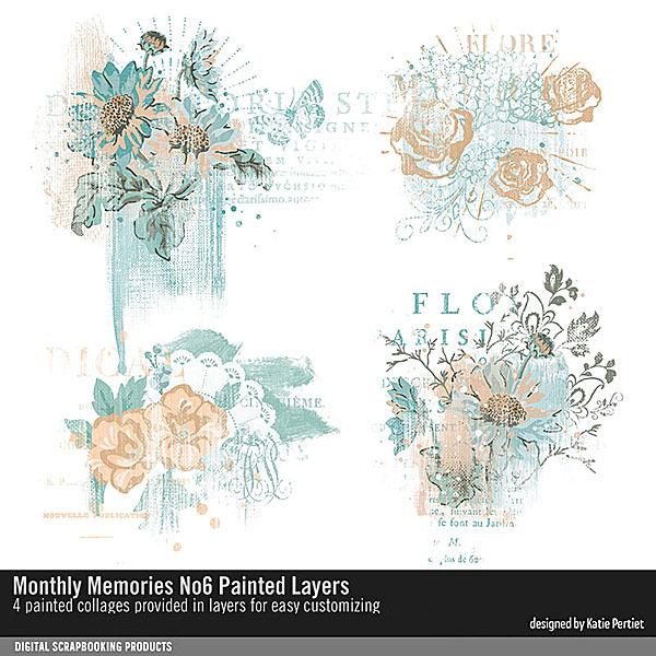 Monthly Memories No. 06 Painted Layers Digital Art - Digital Scrapbooking Kits
