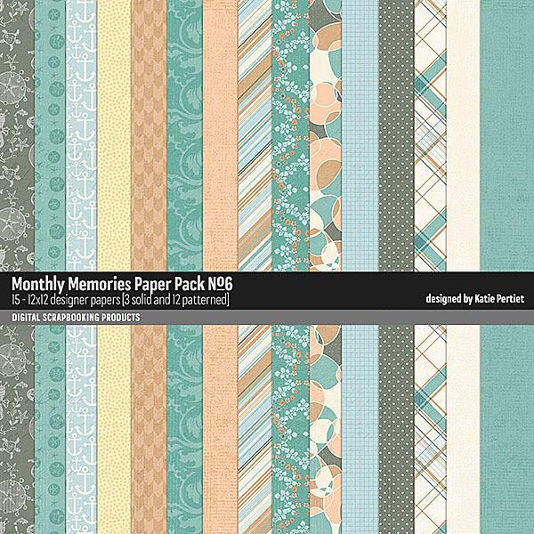 Monthly Memories Paper Pack No. 06 Digital Art - Digital Scrapbooking Kits