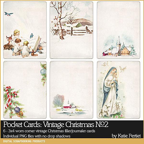 Pocket Cards Vintage Christmas No. 02 Digital Art - Digital Scrapbooking Kits