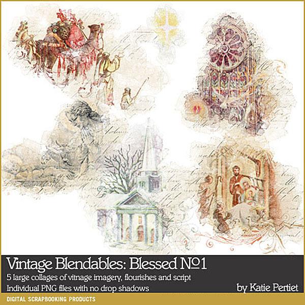 Vintage Blendables Blessed No. 01 Digital Art - Digital Scrapbooking Kits