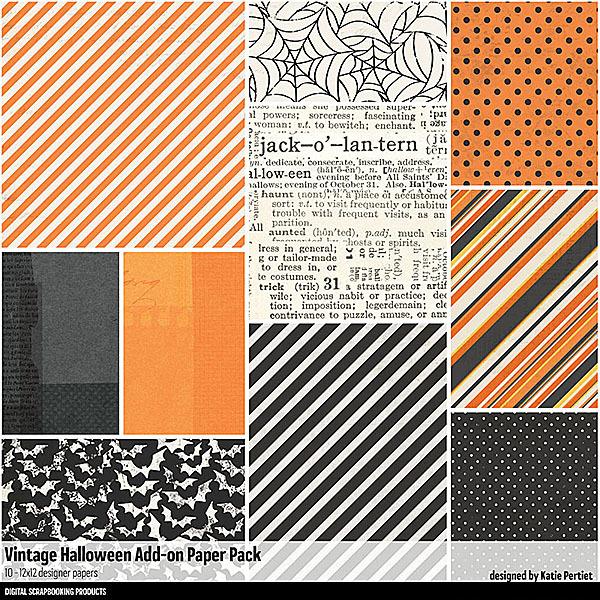 Vintage Halloween Add-On Paper Pack Digital Art - Digital Scrapbooking Kits
