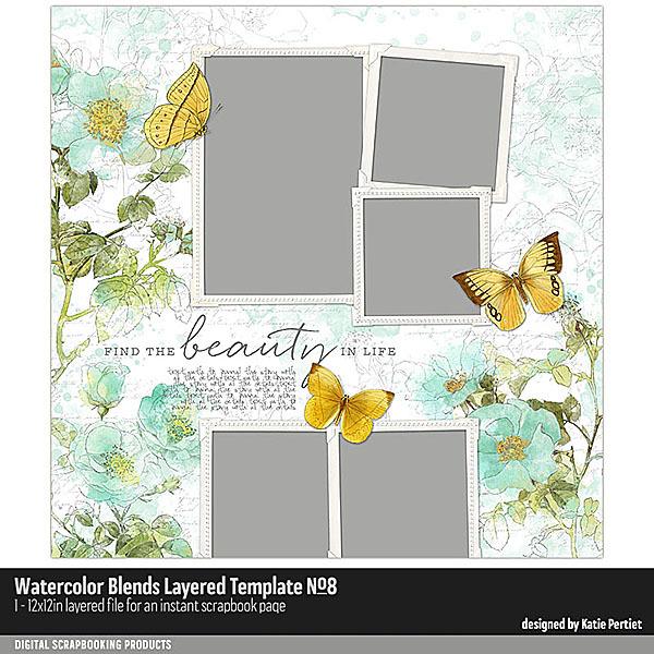 Watercolor Blends Layered Template No. 08 Digital Art - Digital Scrapbooking Kits