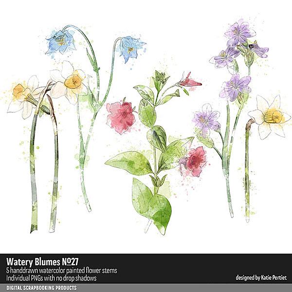 Watery Blumes No. 27 Digital Art - Digital Scrapbooking Kits