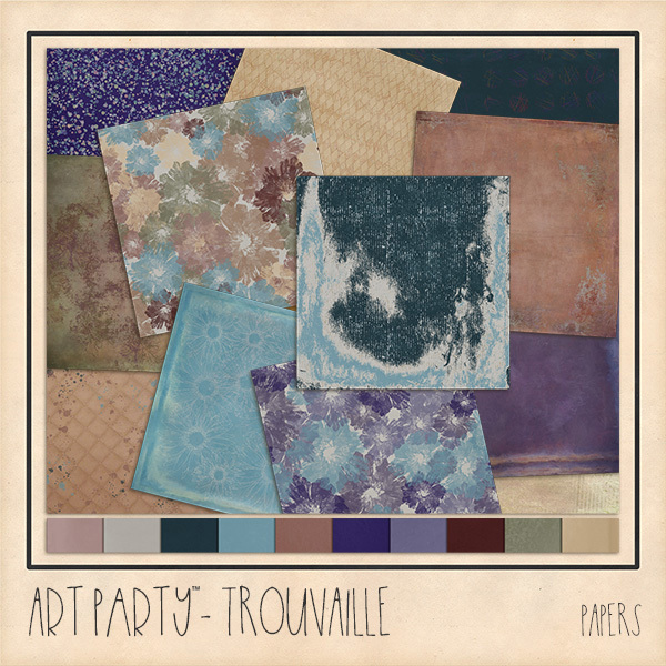 Trouvaille Papers Digital Art - Digital Scrapbooking Kits