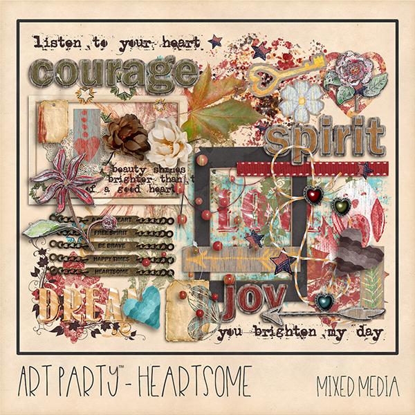 Heartsome Mixed Media Embellishments Digital Art - Digital Scrapbooking Kits