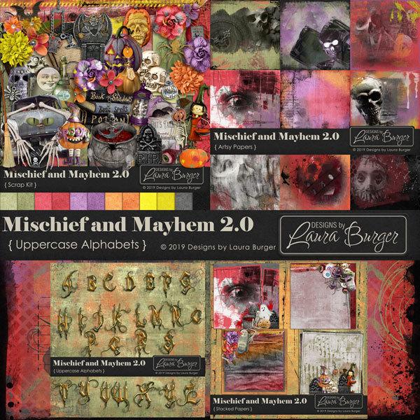 Mischief and Mayhem 2.0 Bundle Digital Art - Digital Scrapbooking Kits