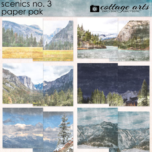 Scenics 3 Paper Pak Digital Art - Digital Scrapbooking Kits
