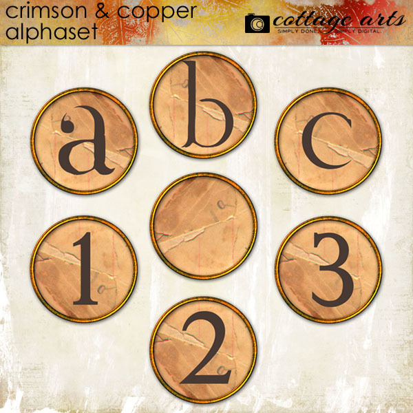 Crimson & Copper AlphaSet Digital Art - Digital Scrapbooking Kits