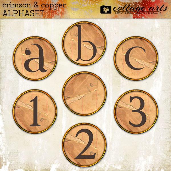 Crimson & Copper AlphaSet Digital Art - Digital Scrapbooking Kits