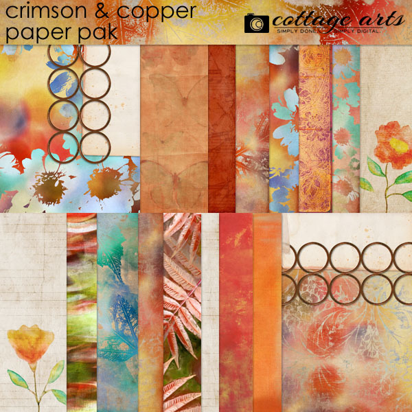 Crimson & Copper Paper Pak Digital Art - Digital Scrapbooking Kits