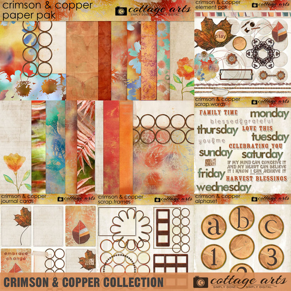 Crimson & Copper Collection Digital Art - Digital Scrapbooking Kits