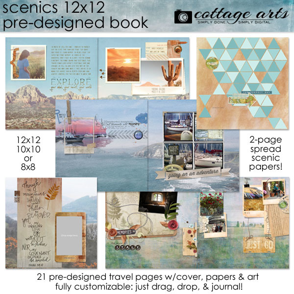 Scenics 12x12 Pre-designed Book Digital Art - Digital Scrapbooking Kits