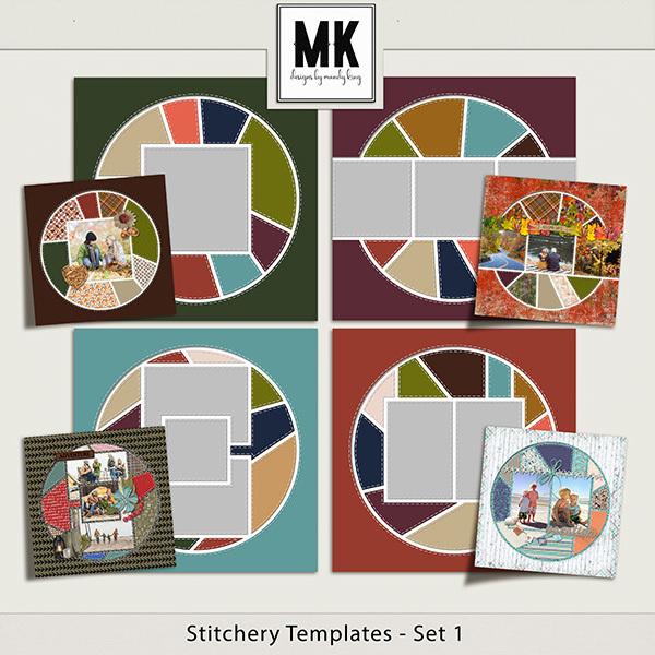 Stitchery Templates Set 1 Digital Art - Digital Scrapbooking Kits