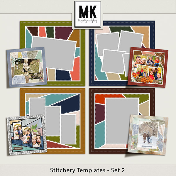 Stitchery Templates Set 2 Digital Art - Digital Scrapbooking Kits