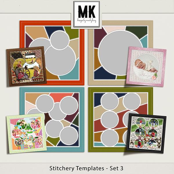 Stitchery Templates Set 3 Digital Art - Digital Scrapbooking Kits