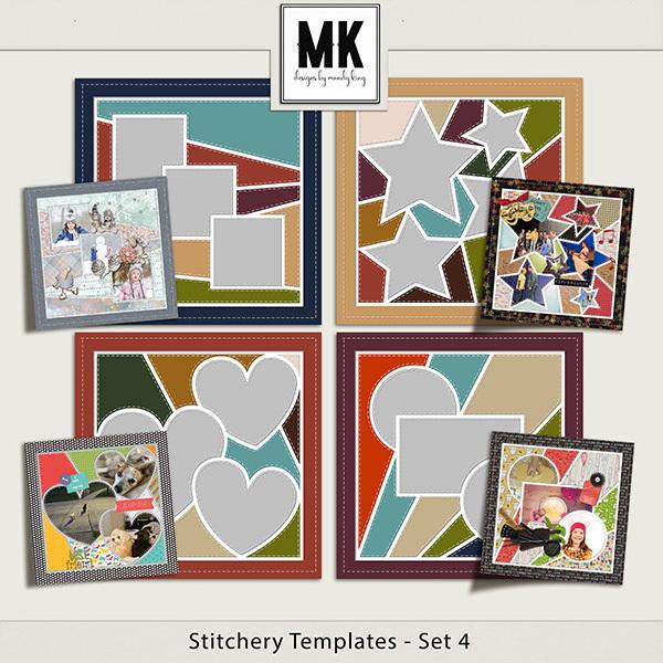 Stitchery Templates Set 4 Digital Art - Digital Scrapbooking Kits
