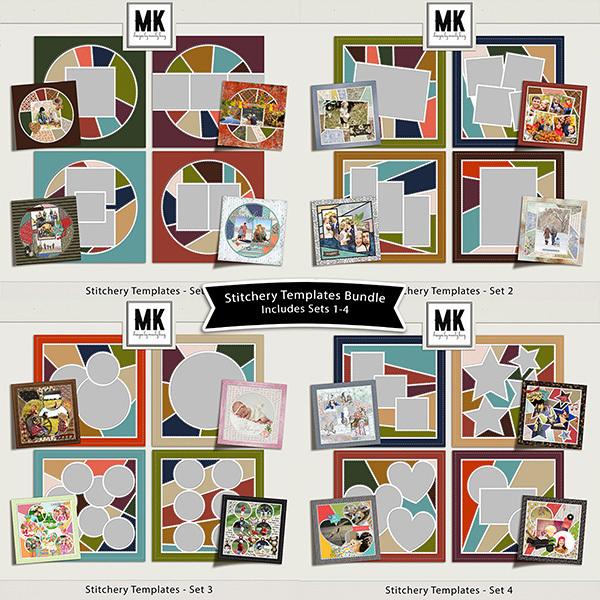 Stitchery Templates Sets 1-4 Digital Art - Digital Scrapbooking Kits