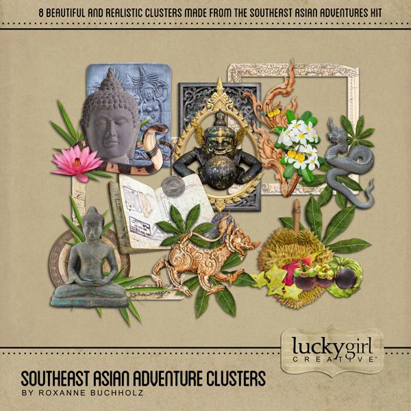 Southeast Asian Adventure Clusters Digital Art - Digital Scrapbooking Kits