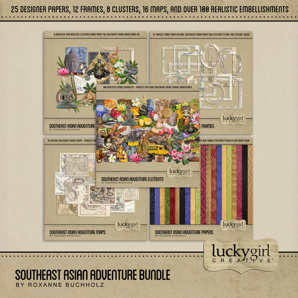 Southeast Asian Adventure Bundle Digital Art - Digital Scrapbooking Kits