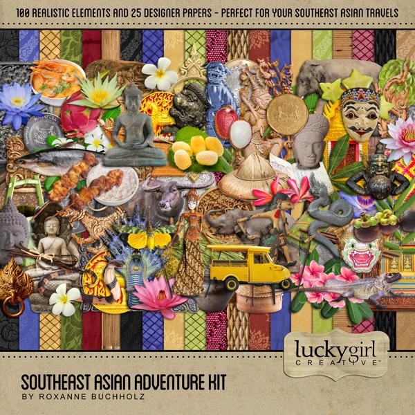 Southeast Asian Adventure Kit Digital Art - Digital Scrapbooking Kits