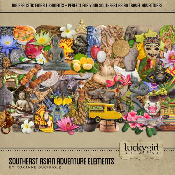 Southeast Asian Adventure Elements Digital Art - Digital Scrapbooking Kits