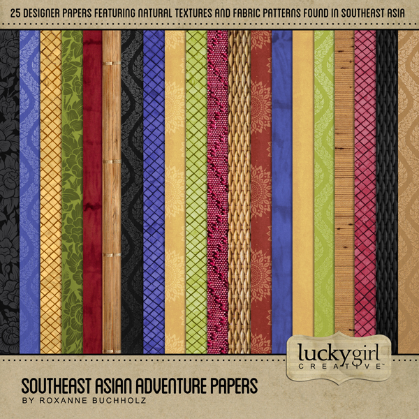 Southeast Asian Adventure Papers Digital Art - Digital Scrapbooking Kits