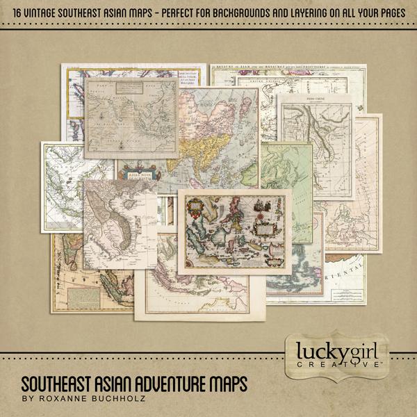 Southeast Asian Adventure Maps Digital Art - Digital Scrapbooking Kits