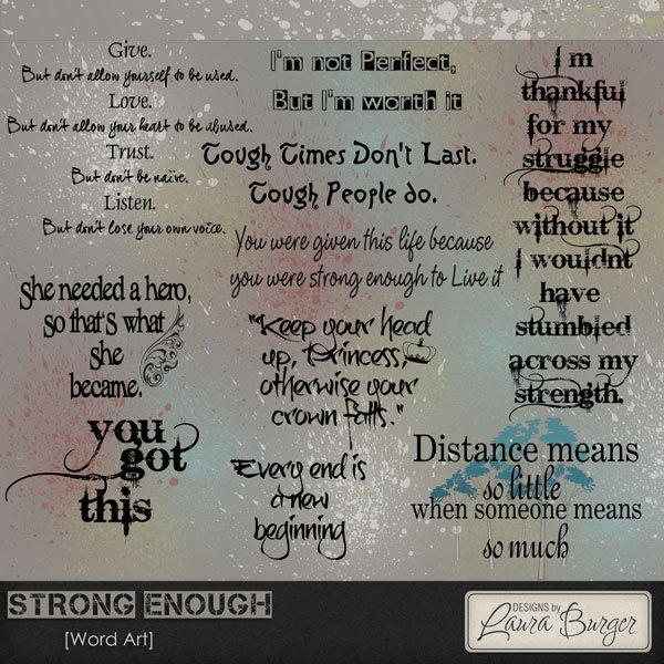 Strong Enough Word Art Digital Art - Digital Scrapbooking Kits
