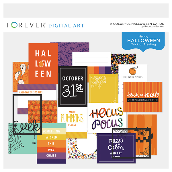 A Colorful Halloween Cards Digital Art - Digital Scrapbooking Kits