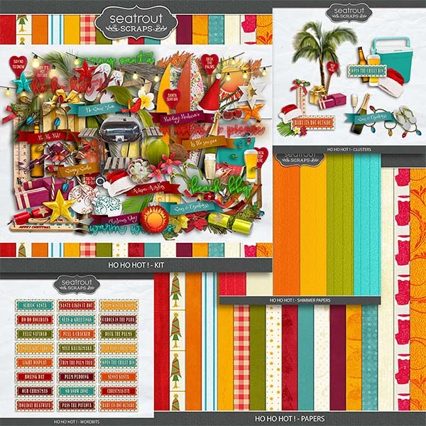 Ho Ho Hot! Bundle Digital Art - Digital Scrapbooking Kits