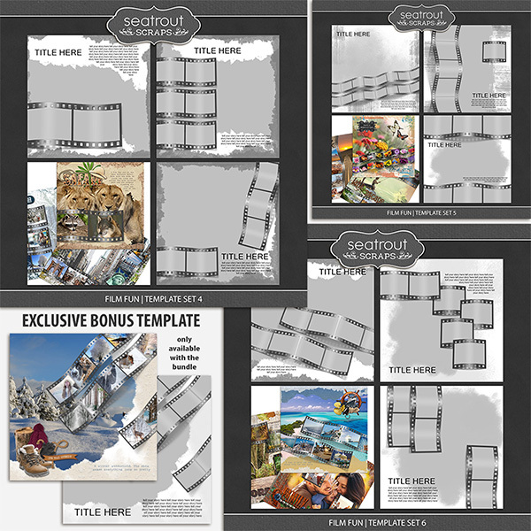 Film Fun Bonus Bundle 2 - 12x12 Digital Art - Digital Scrapbooking Kits