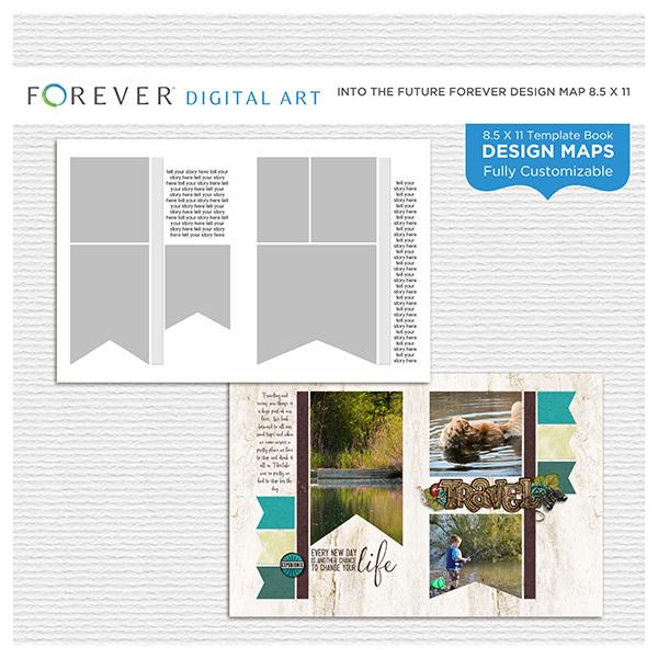 Into the Future Forever Design Map 8.5x11 Digital Art - Digital Scrapbooking Kits