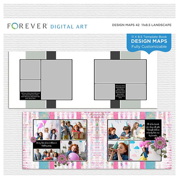 Forever Design Maps 42 11x8.5 Digital Art - Digital Scrapbooking Kits